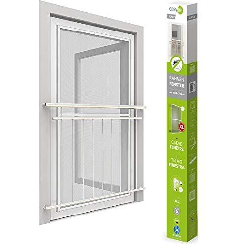 easy life Insektenschutz Fenster easyLINE Fliegengitter mit ALU Rahmen Insektenfenster ohne Bohren und Schrauben individuell kürzbares Fliegennetz Aluminium Profilen, 150x210cm - weiss