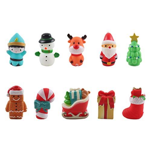 TOYANDONA 10Pcs Niños Dedo Juguete Navidad Marionetas de Dedo Juguetes Papá Noel Muñeco de Nieve Dibujos Animados Dedo Juguete