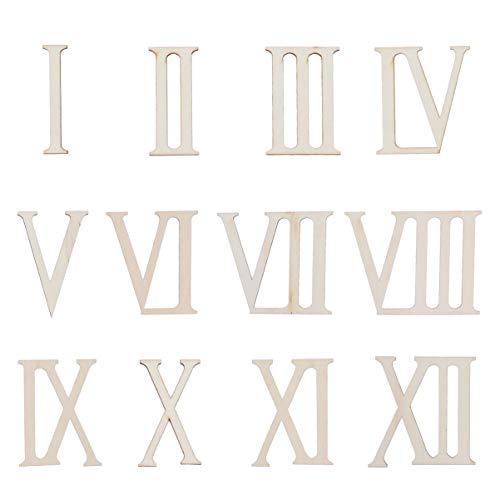 SUPVOX Holz Zahl Römischen Ziffern 1 bis 12 Holz Scheiben Holz Verzierung für DIY Handwerk Dekoration Anzeigen 7cm 12 stücke
