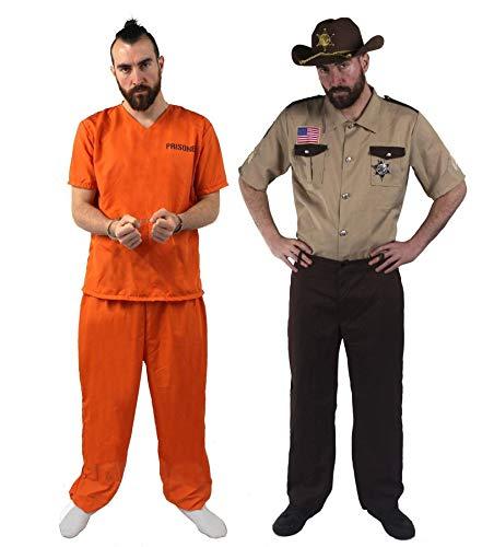 ILOVEFANCYDRESS Disfraces para Dos Conjunto TEMATICO DE Prisionero (S) con Esposas Y POLICIA (M) con Sombrero DE ALGUACIL para Adultos Halloween