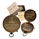 Personalized Pocket Compass Religious Gifts Engraved | Unique Christian/Catholic Keepsake | for Baptisms, Confirmations, Missionary, Birthdays, Graduations, Dad, Son, Boyfriend (Proverbs 3:5-6)