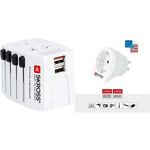SKROSS - Adaptateur & Chargeur (USB) de Voyage Universel - Prises France vers Royaume-Unis (UK)   Etats-Unis (USA)   Australie   Chine   France & 1.500203-E Adaptateur Pays Europe pour USA