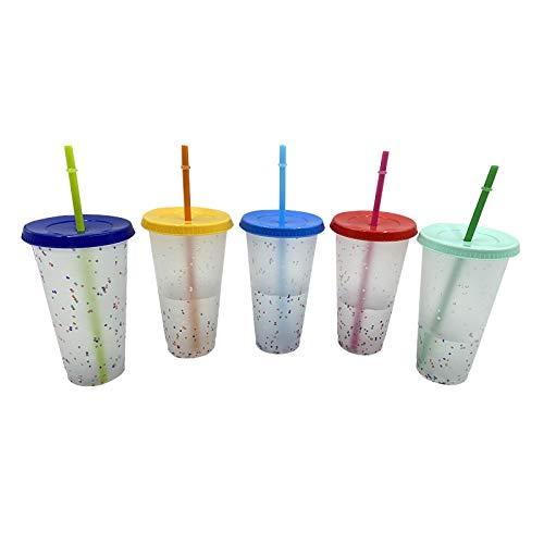 Chanety,taza de agua aislada,taza de agua 1 / 5pcs 700ml Color Copa Copa Confeti Color Plástico Copa Copa Color Frío Color Cambiante Copa de Paja Cocina Dinisterio taza de agua plegable