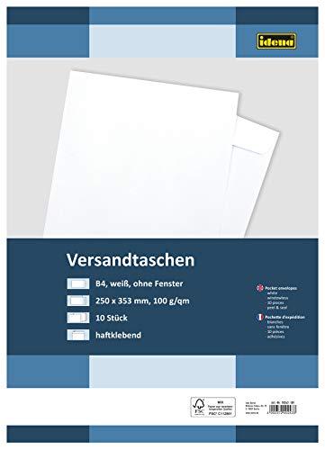 Idena 10243 - Versandtasche DIN B4, 100 g/m², haftklebend, ohne Fenster, FSC-Mix, weiß, 10 Stück