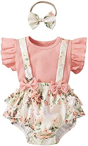 Loalirando Juego de 3 piezas de vestido de verano para bebé con vestido de niña + camisa de manga corta + peto con estampado de flores