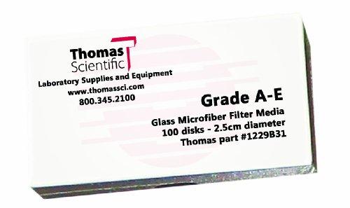 Thomas AE4250 Borosilicate Glass Microfiber Filter, 1 Micron, Fast Flow, Grade A-E, 4.25cm Diameter (Pack of 100)