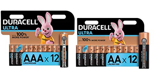 Duracell Ultra AA + AAA con Powerchek - 12 Batterie Stilo Alcaline + 12 Batterie Ministilo Alcaline