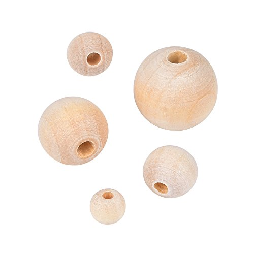 Outus Natural Round Wood Beads Loose Spacer Beads for DIY Jewelry Making, 150 Pieces, 5 Sizes (8 mm/ 10 mm/ 12 mm/ 16 mm/ 20 mm)
