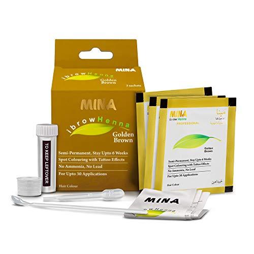 Mina ibrow Henna Golden Brown Regular Pack & Kit de teinture pour teinture capillaire