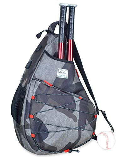 Tennis Bag for Men Women, Racquetball Pickleball Paddle Squash Sling Bags Crossbody Sports Backpack Adult with USB Charge Port (Camouflage)