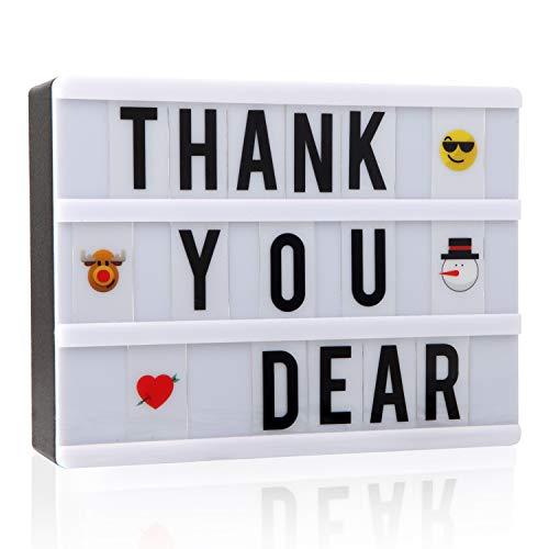 Caja de luz cinemática con 110 letras, números y emojis, tamaño A5, señal de cine con mensaje LED para decoración del hogar, fiesta de Navidad, boda, cumpleaños, opción de regalo ideal para Navidad