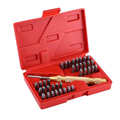 MWPO Kit de Estampado de 38 Piezas de números y Letras para Estampar números y Estampar Letras en Metal, Madera, artesanía de Herramientas de perforación de Cuero