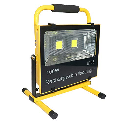 Hanllin Baustrahler LED Akku 100W Fluter Arbeitsleuchte Tragbar Strahler Flutlicht Werkstattlampen Scheinwerfer, Warmweiß