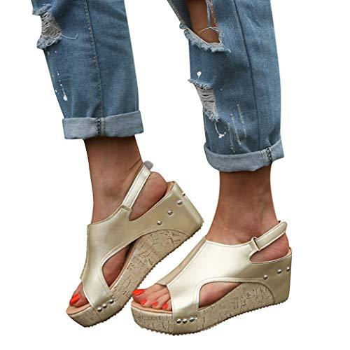 haoricu Women's Cork Wedge Sandal Open Toe PU Leather Thick-Bottom Sandals Platform Wedge Shoes(Gold,9)
