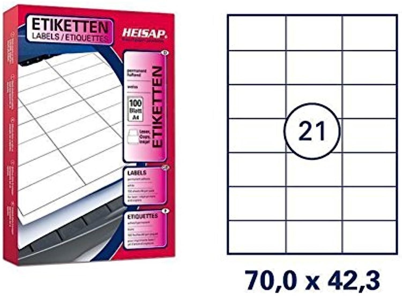 21.000 Bogenetiketten 70 x 42,3mm DIN A4 Universal-Aufkleber - 1.000 Bögen B01N5OQPSZ  | Verschiedene Stile