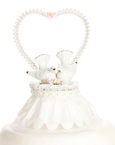 Nesting Turtle Dove Cake Topper: Skirt Color: White