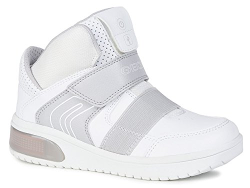 Geox XLED J847QA Jungen High-Top Sneaker,Kinder Stiefel,Sportschuh,Klettschuh,Sneaker-Stiefel,mid Cut, Doppelklett-Verschluss,Blinklicht,LED,Licht,White,EU 33