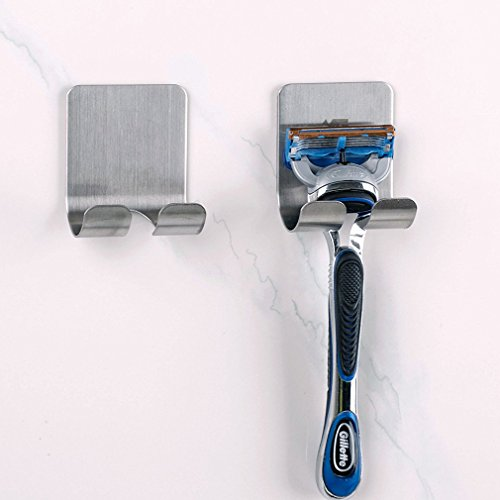 GUAngqi Razor Holder Plug Hook with Self Adhesive Brushed Stainless Steel Hooks
