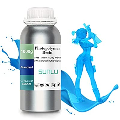 SUNLU 3D printer LCD UV Resin 405nm Rapid Resin fast-curing photopolymer for the Photon/S liquid 3D resin high-precision for LCD/DLP/SLA 3D printer, 1000ml Blue