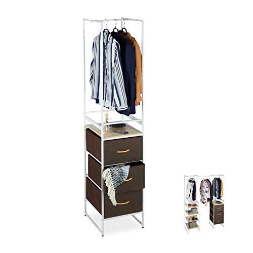 Relaxdays Regalsystem Kleiderschrank, 3 Schubladen, mit Kleiderstange, erweiterbar, HxBxT 198 x 43 x 46,5 cm, weiß/braun