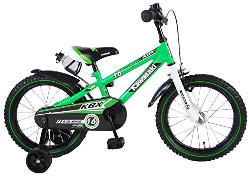 Kinder Fahrrad Kawasaki KBX 16 mit Rücktrittbremse und Trinkflasche 95{178d64ff81c1fdf561213b6521cb7afe18fe94119785e2117eebd997afe327fa} montiert