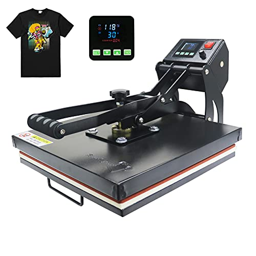 "RoyalPress 15"" x 15"" Color LED Industrial-Quality Digital Sublimation Heat Transfer Machine T-Shirt Heat Press Machine, 15"" x 15"", Black"