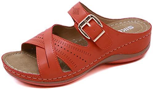 ChayChax Pantofole in Pelle Donna Estivi Sandali Punta Aperta Moda Piattaforma Ciabatte Antiscivolo Scarpe Estive All'aperto, A Rosso, 37 EU