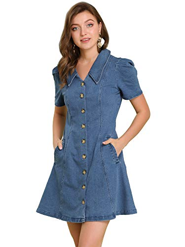 Allegra K Vestido Vaquero con Bolsillo Vertical Cuello Vuelto para Mujer Azul L