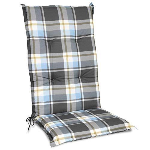 Beautissu Cojín para sillas de Exterior y jardín con Respaldo Alto Sunny BK Azul 120x50x6 cm tumbonas, mecedoras, Asientos cómodo Acolchado Resistente a Rayos UV