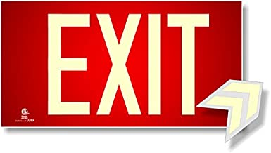 Photoluminescent Exit Sign Red - Aluminum Code Approved UL 924 / IBC/NFPA 101 (Directional Arrows Included)
