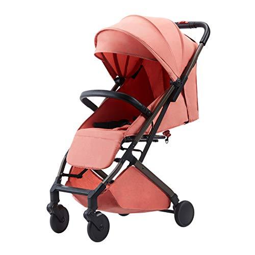 BLWX - Peut s'asseoir inclinable Parapluie Portable Haute Paysage léger Choc Choc Poussette bébé Wagon léger Poussette (Couleur : Pink)