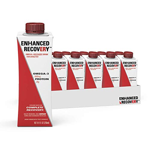 Enhanced Recovery Omega-3 Sports Drink for Athletes   Post Workout   Complete Muscle Recovery   Whey Protein, Collagen, Carnitine, Antioxidants   Gluten Free, No Added Sugar   8.4 Fl Oz, 6 Pack