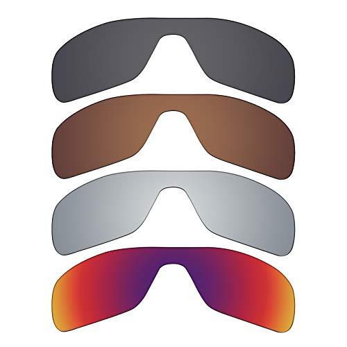 Mryok 4 pares de lentes polarizadas de repuesto para gafas de sol Oakley Turbine Rotor – Stealth negro/bronce marrón/plateado titanio/sol medianoche