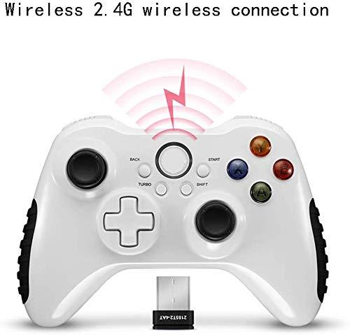 ZGYQGOO Manette Jeu sans Fil pour Manette Jeu, Recharge par Vibration avec Manette Jeu pour Manette USB, Manette Jeu sans Fil, Prise en Charge du récepteur Bluetooth Android/iOS/PC/Machine Jeu, Blanc