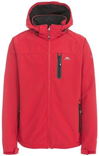 Trespass Accelerator II, Red, M, Wasserdichte Softshelljacke mit abnehmbarer Kapuze für Herren, Medium, Rot