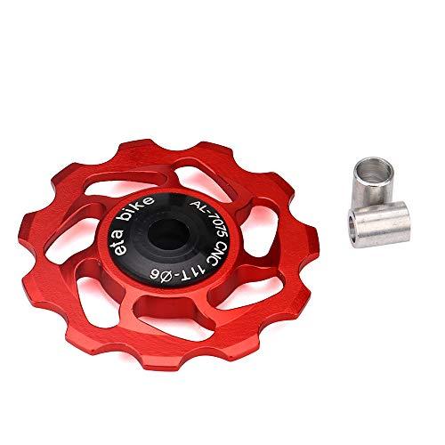 routinfly Rodamiento de bicicleta, 11T MTB Rodamiento de cerámica Jockey Wheel Polea de rueda para bicicleta de carretera, desviador trasero Rodamiento de cerámica para ultra durabilidad (rojo)