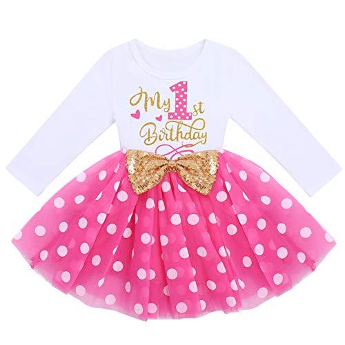 FYMNSI Vestido de manga larga para bebé, para niña, vestido de manga larga, vestido de tul, vestido de princesa, vestido de fiesta para sesión de fotos Rosa Lunares - Mi primer cumpleaños 12 meses