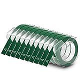 DYMO cinta de estampación autoadhesiva de 9mm x 3m, de color blanco sobre fondo verde, Paquete de 10