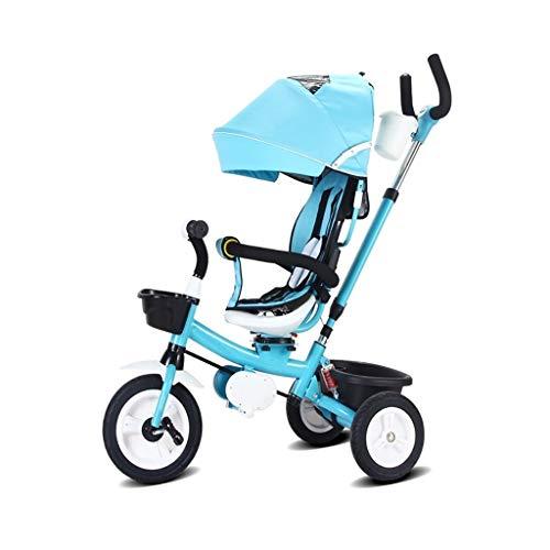 GYF Triciclo, Triciclo con Toldo Multiusos for niños Push-Pull de Doble Uso, Triciclo del bebé al Aire Libre, 2 Colores (Color : Blue)