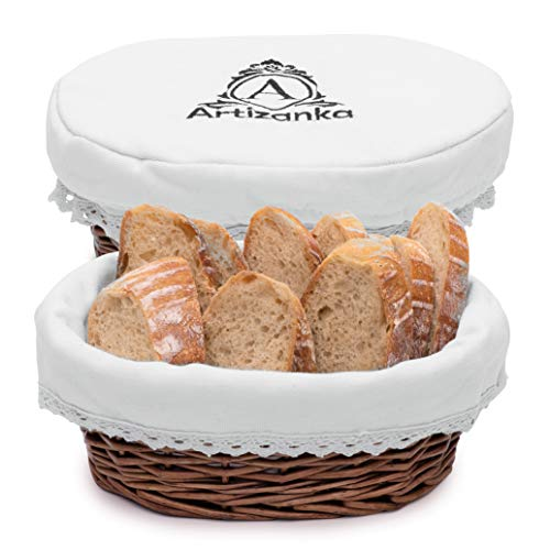 """Medium Bread Basket for Serving Set - 11x4"""" Wicker Basket with Removable Liner and Cover Bread Serving and Bread Warmer Basket for Table Sourdough Bread Basket by Artizanka"""