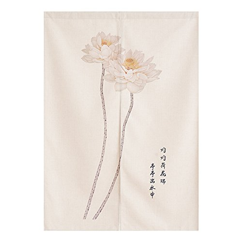 BAIHT HOME Cotton Linen Japanese Noren Curtain Tapestry Doorway Curtain Kitchen Curtains Chinese Lotus Deaign 33.5