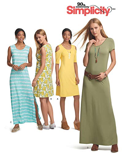 Simplicity Schnitmuster 7054.A,Jersey-Kleid [Damen, Gr.32-50] zum selber nähen, ideal für Anfänger [L1]