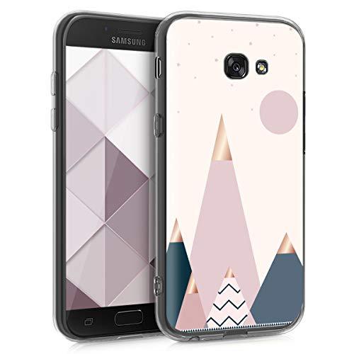 kwmobile Funda para Samsung Galaxy A5 (2017) - Carcasa de TPU para móvil y diseño de montañas y Formas en Oro Rosa/Azul/Rosa Claro