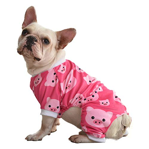 CuteBone Pink Pig Dog Pajamas Cute Cat Clothes Pet Pjs Onesie, Medium P46M