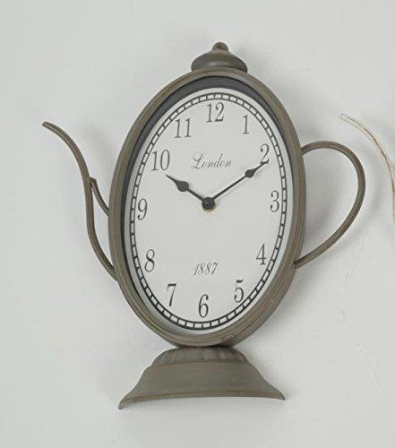 Dekorative Uhr Wanduhr Shabby Chic Vintage grau Kaffeekanne Teekanne Kanne used look shabby