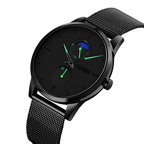 SKMEI Black Watches for Men Ultra-Thin Minimalist Simple Moon Phase Analog Quartz Waterproof Dress Fashion Stainless Steel Mesh Strap Wristwatch Gifts