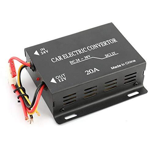 Dibiao 20 A 24 V auf 12 V Wechselrichter, hohe Leistung, aus Aluminiumlegierung, langlebig, integrierter Schutz, Schwarz