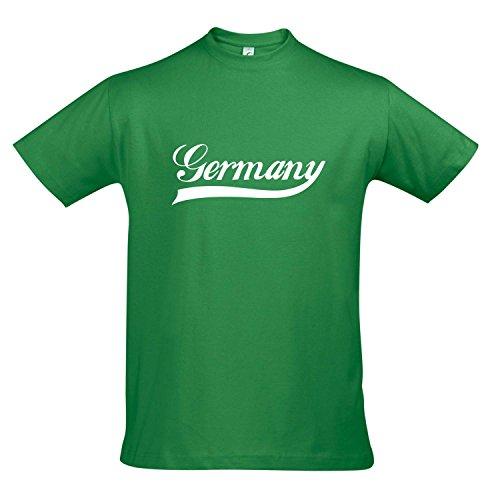 T-Shirt Deutschland Oldschool Germany LÄNDERSHIRT EM / WM FAN Trikot S-XXL , Kelly green - weiß , M