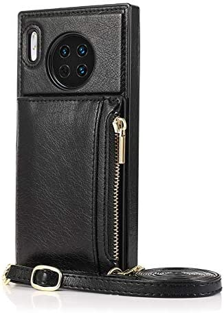 SLDiann Case for Huawei Mate 30, Zipper Wallet Case with Credit Card Holder/Crossbody Long Lanyard, Shockproof Leather TPU Case Cover for Huawei Mate 30 (Color : Black)