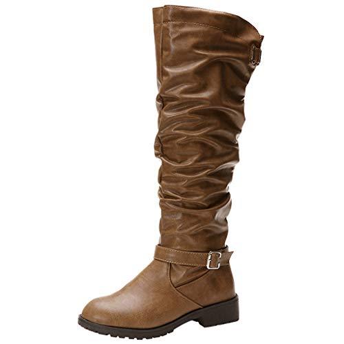 POLP Botas Mujer Invierno de Cuero de tacón alto Botas de algodón con Cremallera Zapatos de Mujer con Terciopelo Zapatilla alta Botas de nieve